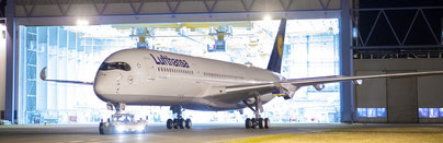 LH's first A350 left the Airbus paint shop in Toulouse after 11 days of work  -  courtesy LH
