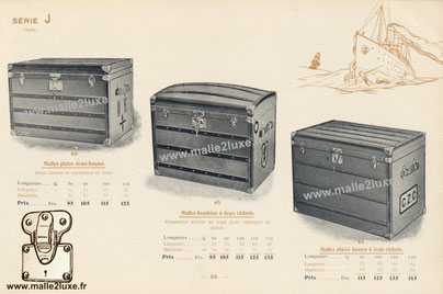 Half-high flat trunks , two frames and separation at the bottom. Convex trunks with two frames , movable separation at the bottom for ladies' hats. High flat trunks with three frames