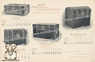 Series I:  Moynat light wicker trunk. Tarred canvas in varnish, edged strong cow. The envelopes provide these trunks with maximum durability. The first wicker trunk were made by Maison moynat in 1873, and constantly improved. For the cabin. Flat trunks fo