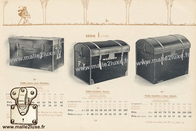 Flat trunks for men , first quality. Low rounded trunks , first quality. First quality convex trunks with two frames .   Do not confuse Moynat wicker trunks, with the many imitations sold everywhere under the name of English Trunks.