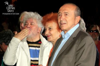 Pedro Almodovar, Marisa Paredes et Gérard Collomb - Clôture du Festival Lumière - Lyon - Octobre 2014 - Photo © Anik COUBLE