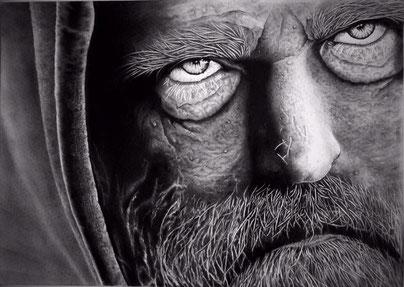 schwarz weiß Bild, sehr alter Mann, ausdrucksstarkes Gesicht, detail Zeichnung, Kunst, Bleistiftzeichnung