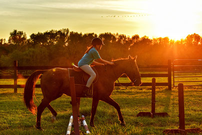 girl riding horse near ramps during sunset
