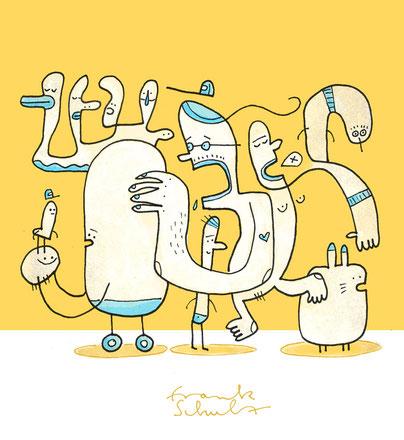 Figuren vor gelbem Hintergrund, gezeichnet von Frank Schulz