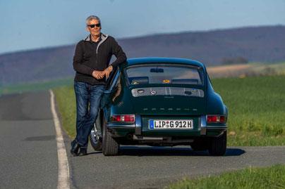 Author Horst E. Goltz and his Porsche 912 Sunroofcoupe