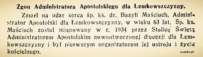 zgon administratora apostolskiego lemkowszczyzny