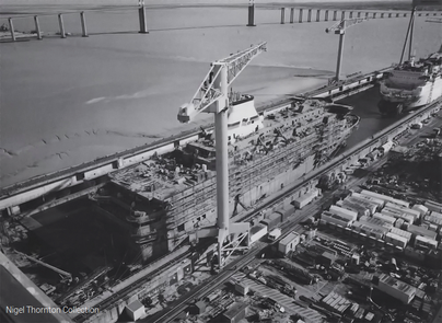 Bretagne being built in 1988 in Saint-Nazaire.