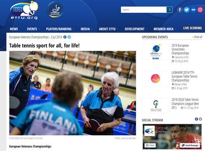 Auch www.ettu.org, der offiziellen Webseite des europäischen Tischtennisverbandes, durfte Margit Schieders Konterfei nicht fehlen.