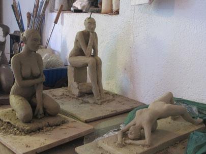 études de nu sculptures argile