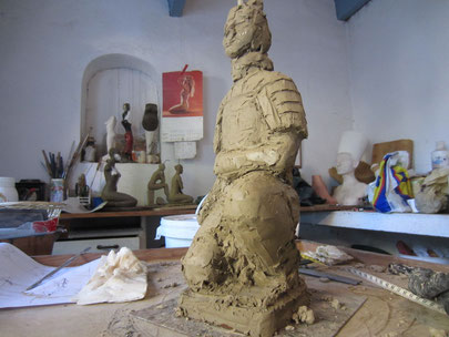 guerrier chinois sculpture argile 2014
