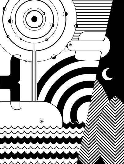 Ilustración geométrica en blanco y negro