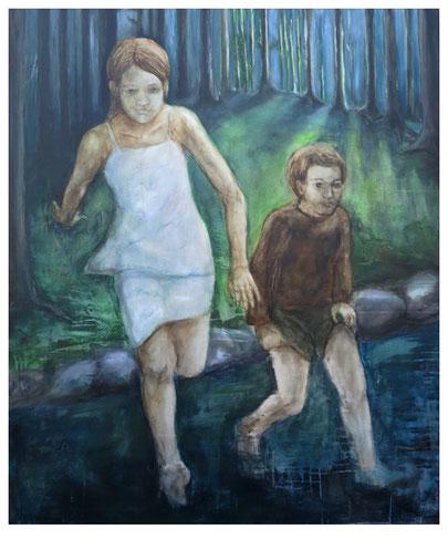 Zwei Kinder (Hänsel und Gretel) * Acryl auf Leinwand * 100 x 120 cm *  2014/ 2015