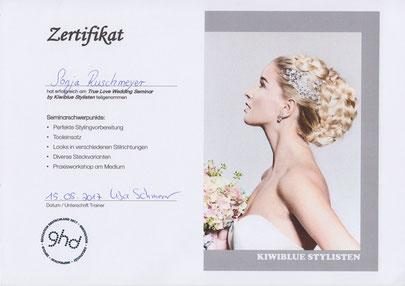 Ansicht des Kiwiblue-Stylisten-Zertifikats von Sonja Ruschmeyer