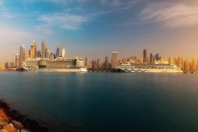 AIDAprima und AIDAvita am neuen Dubai Cruise Terminal