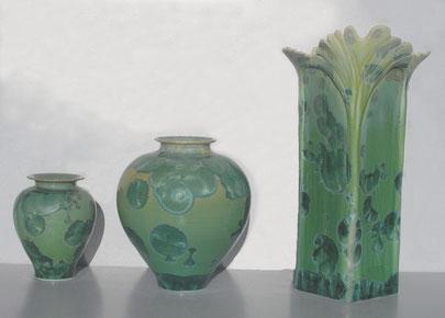 2 vases  vert et Gingko carré