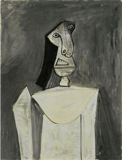 Busto de mujer sobre fondo gris 1943. Óleo sobre lienzo 116x89cm. Coleccion Anthax Marx,préstamo Fundación Beyler.