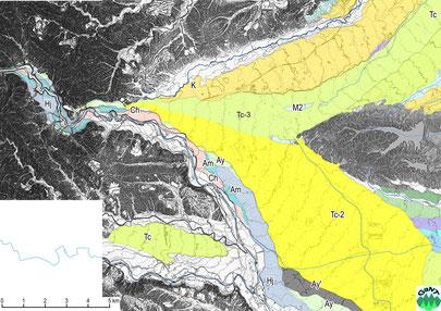 図12B 1mコンター地形図の判読による