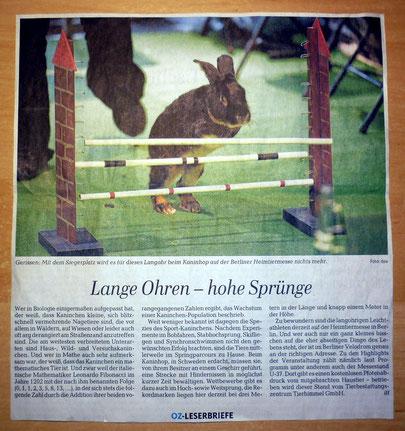OZ Kaninhop Heimtiermesse Berliner Kaninchen Hindernis Hürden Berlin