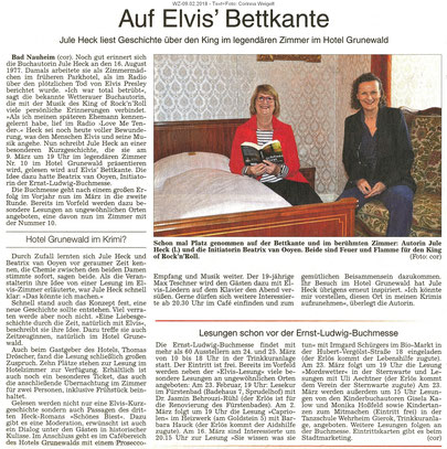 Auf Elvis' Bettkante, WZ 09.02.2018, Text + Foto: Corinna Weigelt
