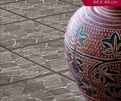 Loseta de Cerámica Piedra de Bernal en  formato de 44 x 44 para pisos rústicos con apariencia mexicana pisos para cocinas, salas, reacámaras los tenemos en www.rusticosartesanales.com