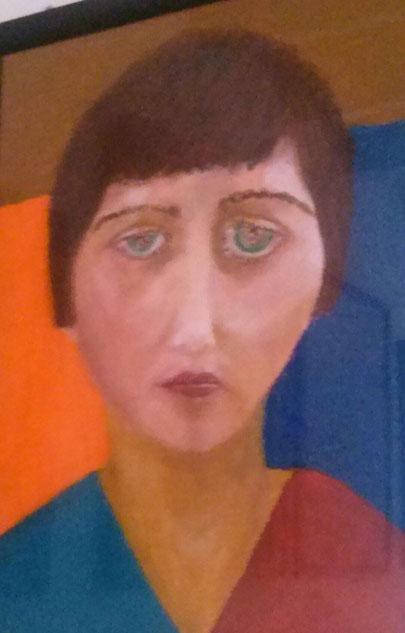 Autoportrait à 18 ans. Pastels à l'huile - 2000