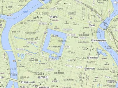 平城 広島城 YAHOO地図 地形図 ※画像クリックで拡大