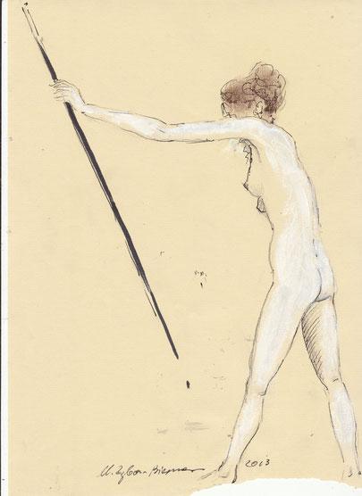 O. Titel, Bleistift, Kreiden und Tintenschreiber auf Ingres-Papier, 2013.