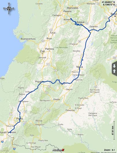 Gefahrene Route durch die zentralen Kordilleren