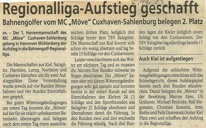 Artikel aus den Cuxhavener Nachrichten vom 06.11.1999