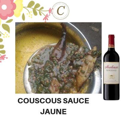 C-737-COUSCOUS SAUCE JAUNE + Vin rouge Moelleux 75CL. Prix : 10 000 FCFA. Ajoutez un plat à 2500 FCFA