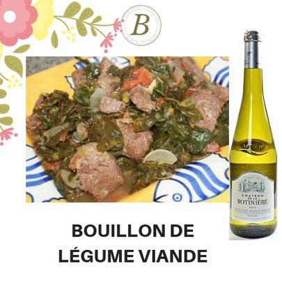 B-43-BOUILLON DE LÉGUME VIANDE + Vin blanc Moelleux 75CL. Prix : 10 000 FCFA. Ajoutez un plat à 2500 FCFA
