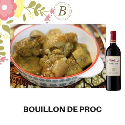 B-91-Bouillon de porc + Bon vin de table 75 CL. 9 000 FCFA. Ajoutez un plat à 1500 FCFA