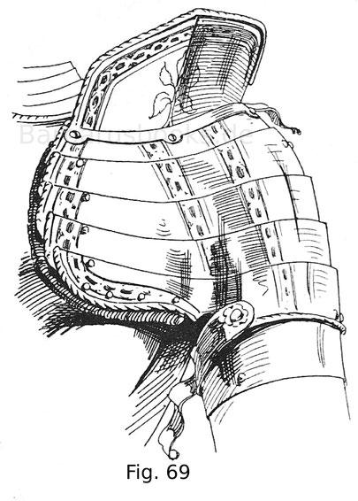 Fig. 69. Linksseitige Achsel mit geschobenem Vorderflug und hohem Brechrand von einem Harnisch des Kaisers Ferdinand I. um 1560.