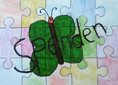Bild eines Schüler das einen Schmetterling und das Wort Spenden als Puzzle zeigt