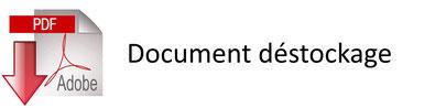 Document déstockage avec les produits concernés