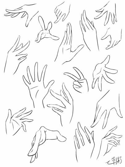 女のコらしい手のポーズ集と描き方 その1 しがない絵描きのイラスト