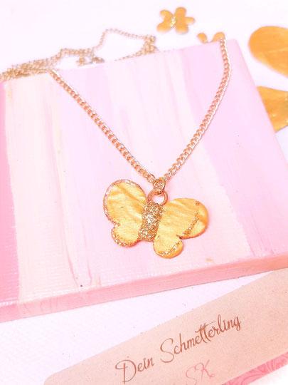 Blumen und Schmetterlinge von Dein Schmetterling by SK in Gold&Glitzer, mit LIebe und handgemacht, Schmuck, Halsketten, Armbändchen und Kunst