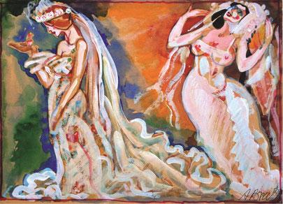 """Brusilovsky, Anatol, Die Braut """"Die Unbegreifliche"""" und  """"Die Unbekannte"""" Gouache, Aquarell, farbige Papier, Karton, 30 x 23 cm, 2010-2014"""