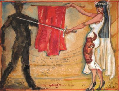 "Brusilovsky, Anatol, Die Braut ""Der Stierkampf, Matadore"", Gouache, Aquarell, farbige Papier, Karton, 30 x 23 cm, 2010-2014"