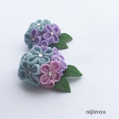 つまみ細工 紫陽花のブローチ