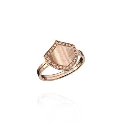 BRAVE HEART Ring gefertigt aus 18kt Roségold mit champagner Brillanten - Schutzschild - designt und fefertigt in Hamburg - atelier s. Sandra Simon - Schmuckdesign