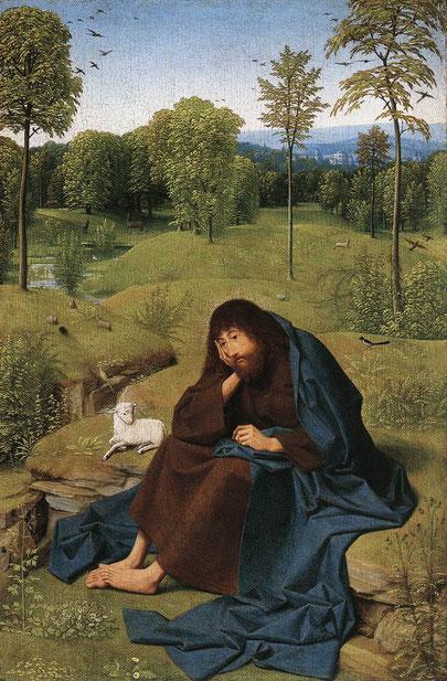 "Geertgen tot Sint Jans, ""San Giovanni Battista nel deserto"" 1490-95"