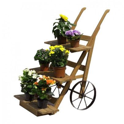 Holzfarbene Assen Blumenkarre zur Verschönerung des Außenbereichs 102,99€