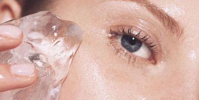 trattamento cosmetico fai da te del ghiacchio sul viso