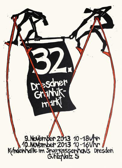 Peter Zaumseil, Plakat 32. Dresdner Graphikmarkt 2013, Holzschnitt, handkoloriert, 70 x 50 cm, Druck: Thomas Siemon, Leipzig