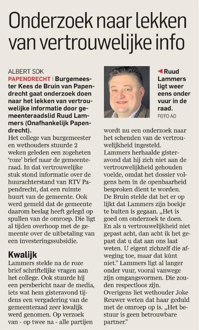 Artikel AD De Dordtenaar d.d. 6 maart 2015
