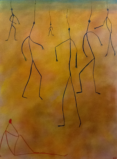 Puppets on the string or remotely controlled by the cloud, acrylic on canvas /50 x70 cm