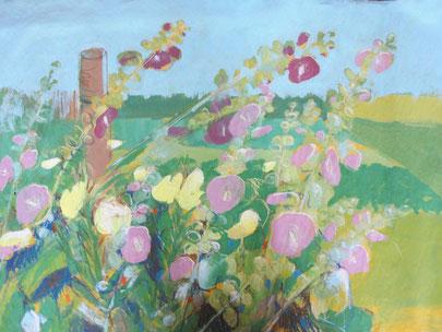 Stockrosen, 2011, Mischtechnik auf Papier, 100 x 80 cm