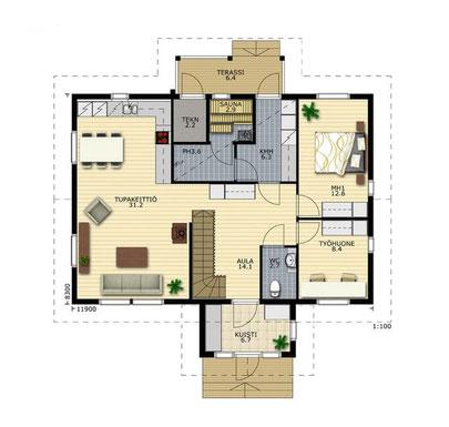 EG-Grundriss - Hausplanung - Entwurfsplanung - Einfamilienhaus - Bungalow - Barrierefreiheit - Hausbau - Holzbau - Blockhausbau