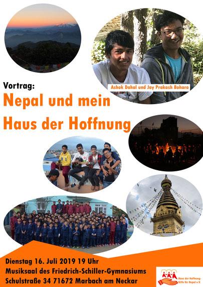 Vortrag: Nepal und mein Haus der Hoffnung; Ashok Dahal und Jay Prakash Bohara; Dienstag 16. Juli 2019 19 Uhr Musiksaal des Friedrich-Schiller-Gymnasiums Marbach am Neckar